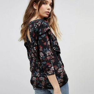 FREE PEOPLE Cottage Floral Ruffle Mesh Top Small